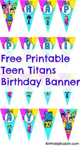 Free Printable Teen Titans Go Birthday Banner | Baby on Board ...