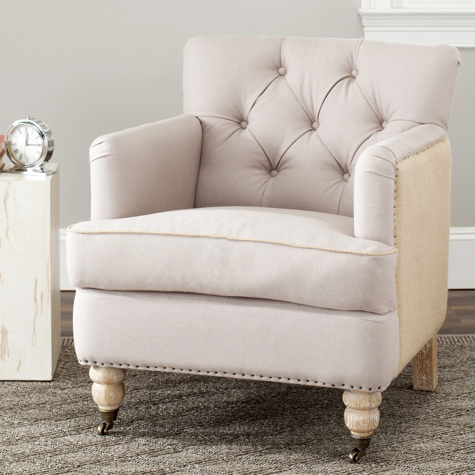 Safavieh Colin Tufted Club Chair Taupe / Beige / White
