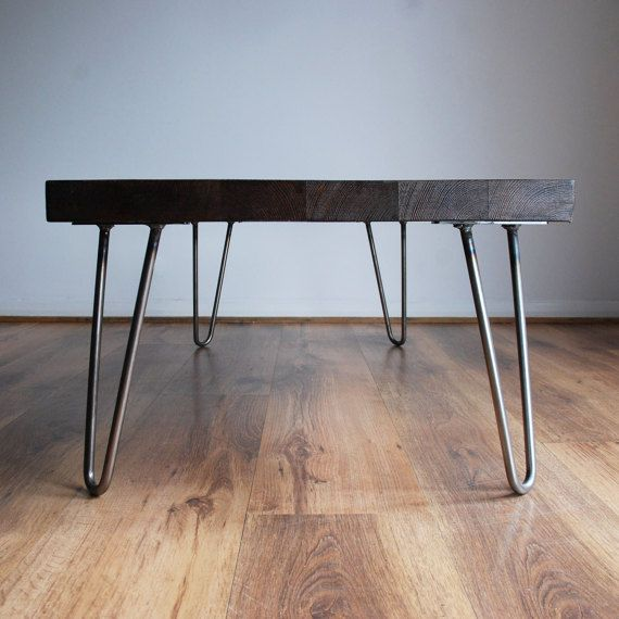 Handmade Chunky Solid Wood Coffee Table With Bare Steel Hairpin Legs U2013 Dark  Wood Finish Style: An Industrial Chic, Vintage Retro Rustic Wooden Coffu2026