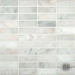 Arabeo Carrara 1 In Honed Mesh Mounted Bricks Pattern Marble Mosaic Tile At N Things Bathroom Flo