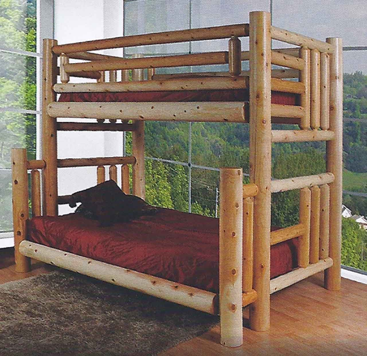 Finished Northern Lakes Log Twin Over Queen Bunk Bed