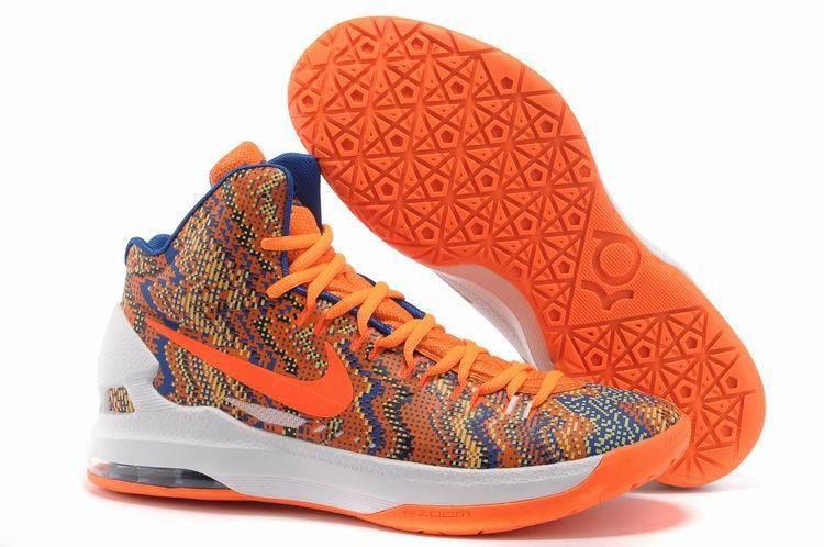 Nike KD V Christmas Graphic Orange White Court Purple Discount Shoes