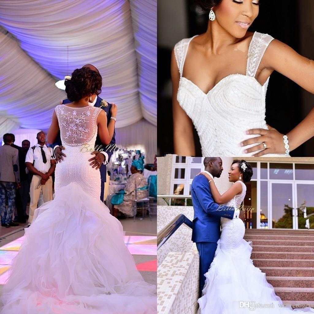 Modest Nigerian Wedding Dresses Mermaid Beading Organza See Through 2016 Sweetheart Chapel Train Ruffles Cheap Plus Size Bridal Gowns