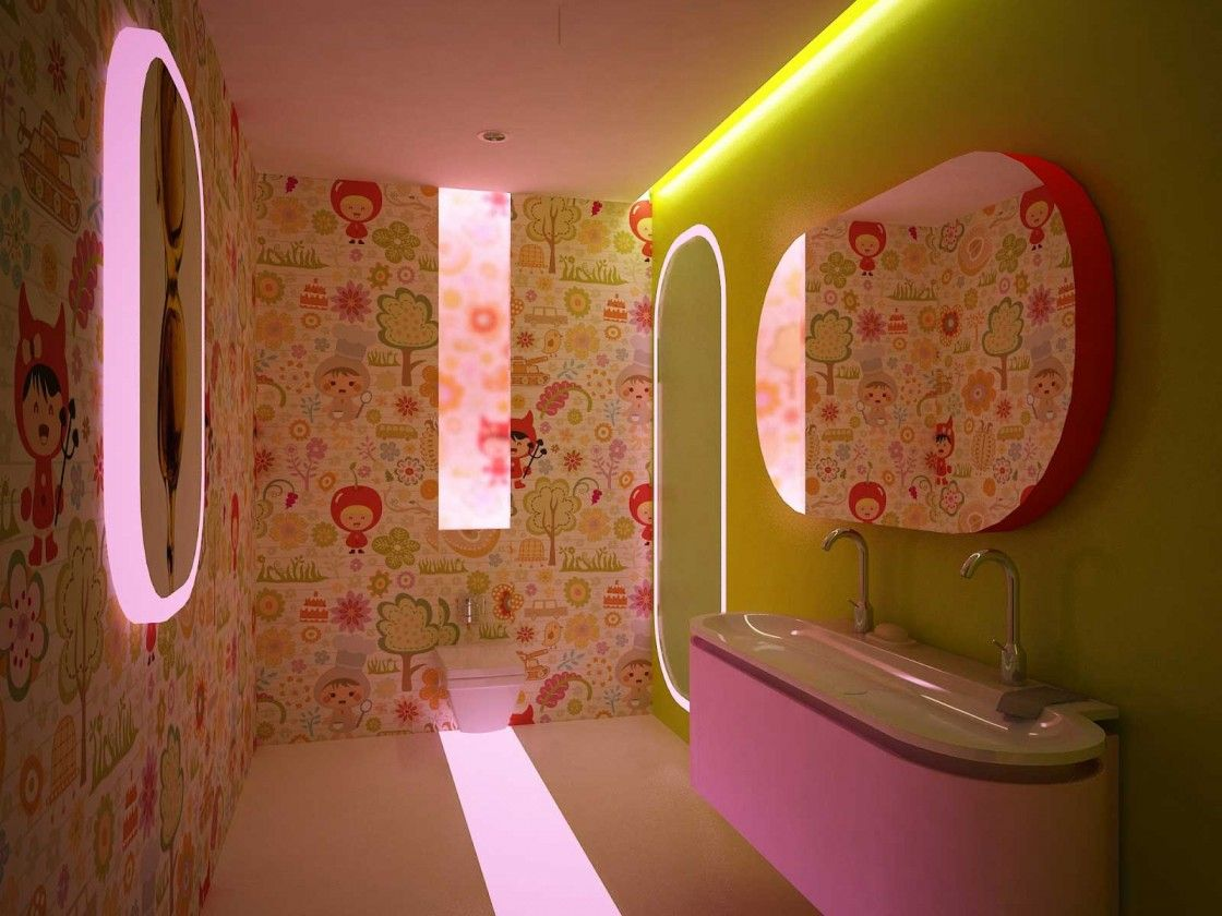 Wonderful kids bathroom for girls with cute wallpaper design and wonderful kids bathroom for girls with cute wallpaper design and oval frameless wall mirror above purple amipublicfo Image collections