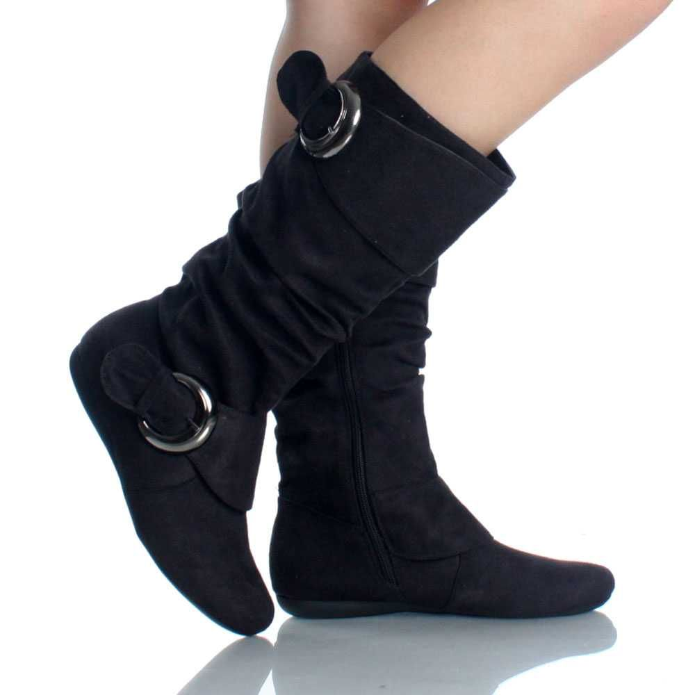 Women Fashion Buckles Mid-Calf Slouchy Zipper Wedge Heel Boots