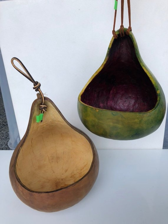 Tear Drop Gourd Planter With Braided Leather Strap  Gourd