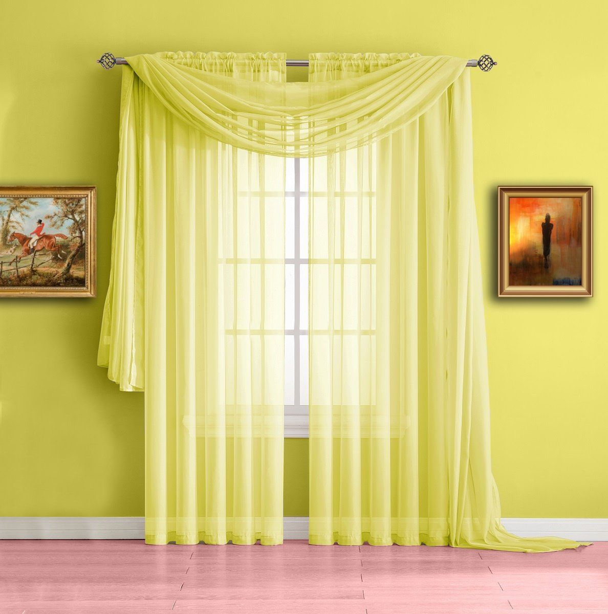 Warm Home Designs Extra Long Yellow Sheer Window Curtains Ease