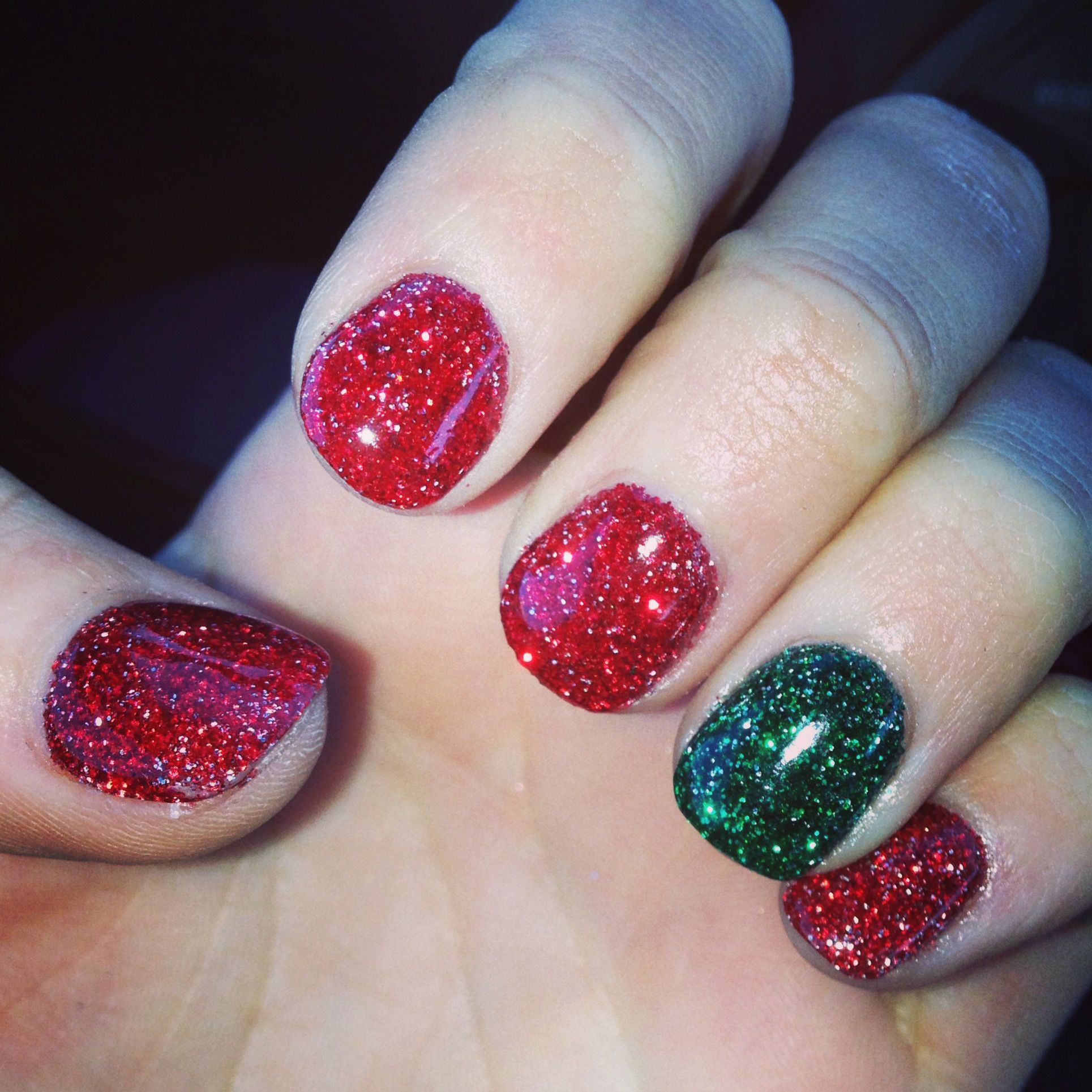 Xmas Nail Colours: My Christmas Nails. SNS Powder Gel. No UV Light