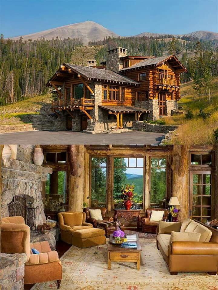 Pretty log cabin    read here logcabin dreamhouse homedesign design livingroom logcabininterior also love this for my mountain lodge in spain home ideas rh pinterest