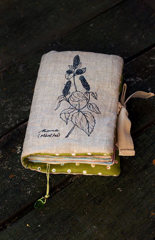 Mint Aroma Soft Notebook with Herbs - Textile Eco Diary Journal Green by MashaRazner on Etsy https://www.etsy.com/listing/229146271/mint-aroma-soft-notebook-with-herbs