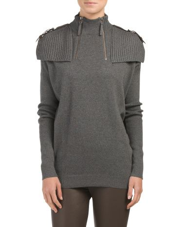 Turtleneck+Sweater+With+Buckle+Detail