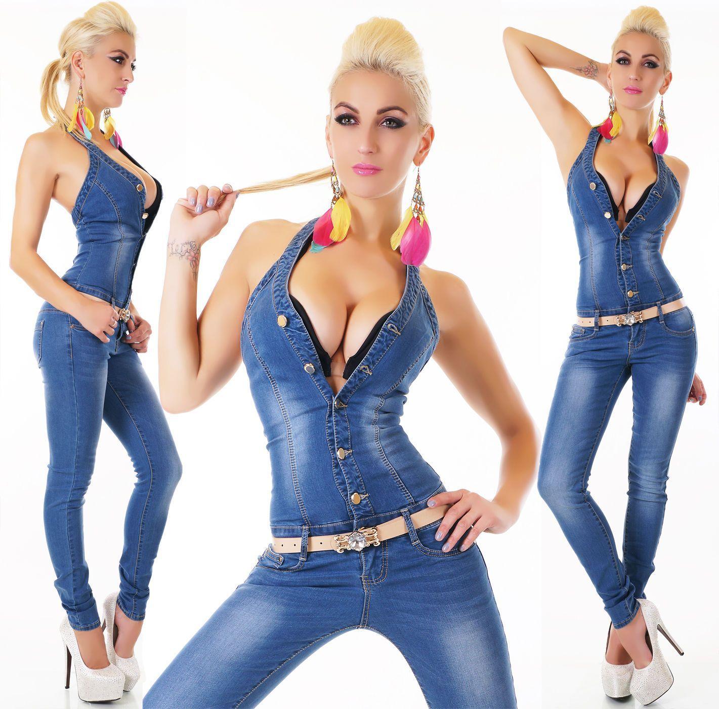 Women/'s Stretch Denim Jeans Jumpsuit M//L//XL Belt
