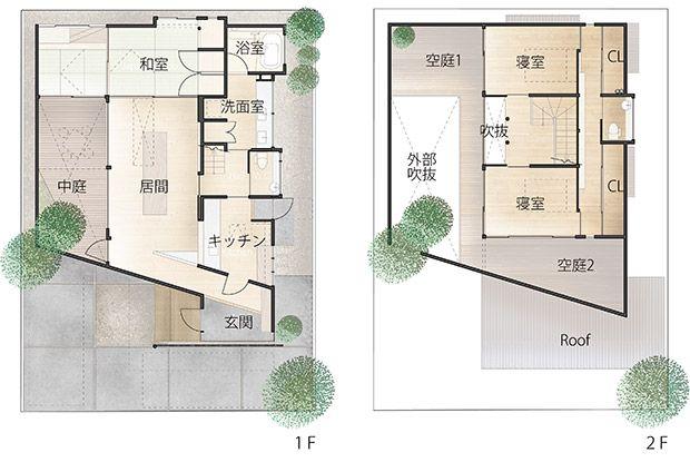 内覧可囲炉裏の住宅 夜 平面図 コートハウス 中庭のある家 大阪の不動産 注文住宅なら富国ハウジング Kadel 平面図 中庭のある家 間取り