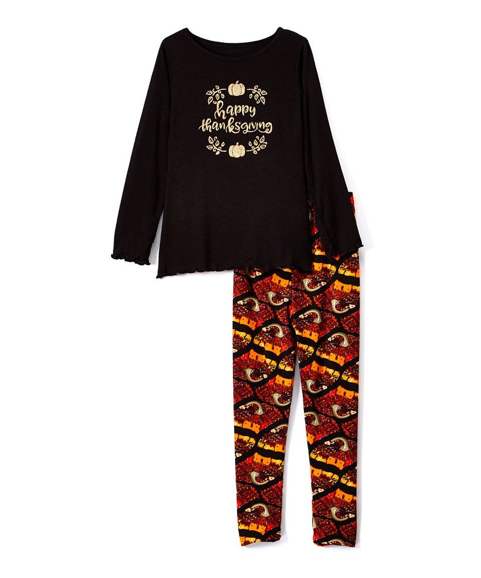 5baa965dc70e2 Take a look at this Black 'Thanksgiving' Top & Pumpkin Leggings - Toddler &  Girls today!