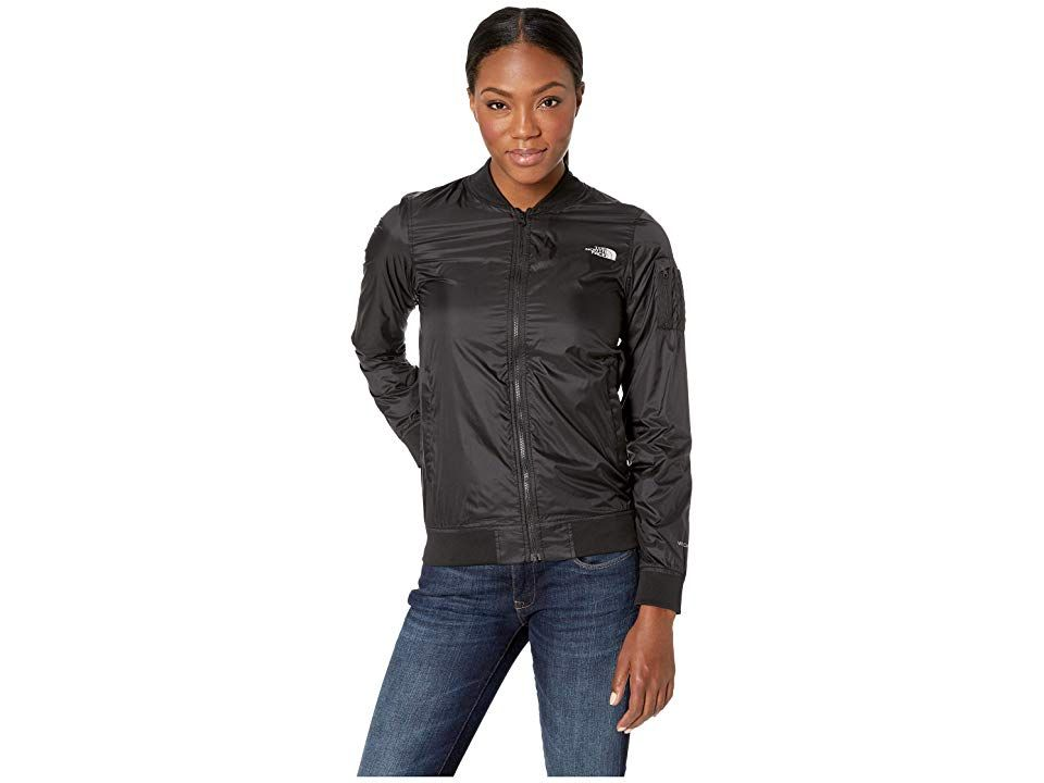 be893a7978 The North Face Meaford Bomber Jacket (Shiny TNF Black) Women s Coat. The  North Face Meaford Bomber Jacket has a shiny finish and excellent stretch  that make ...