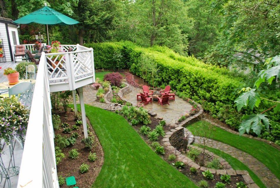 impressive sloped backyard landscape