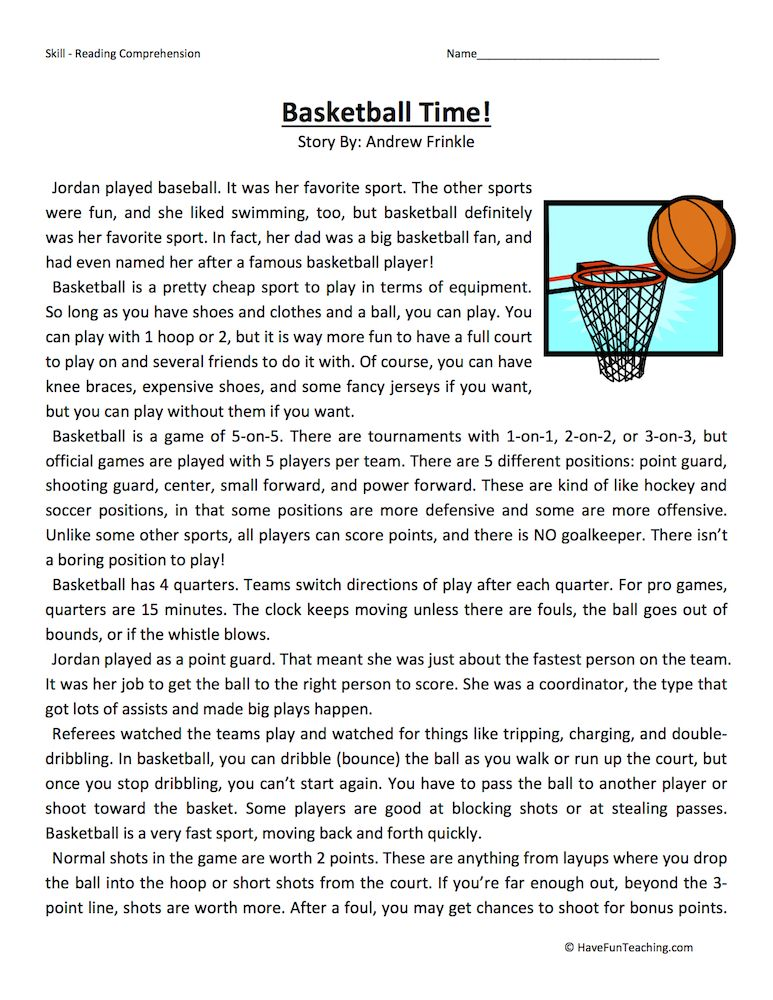 basketball short story grade 4 pdf