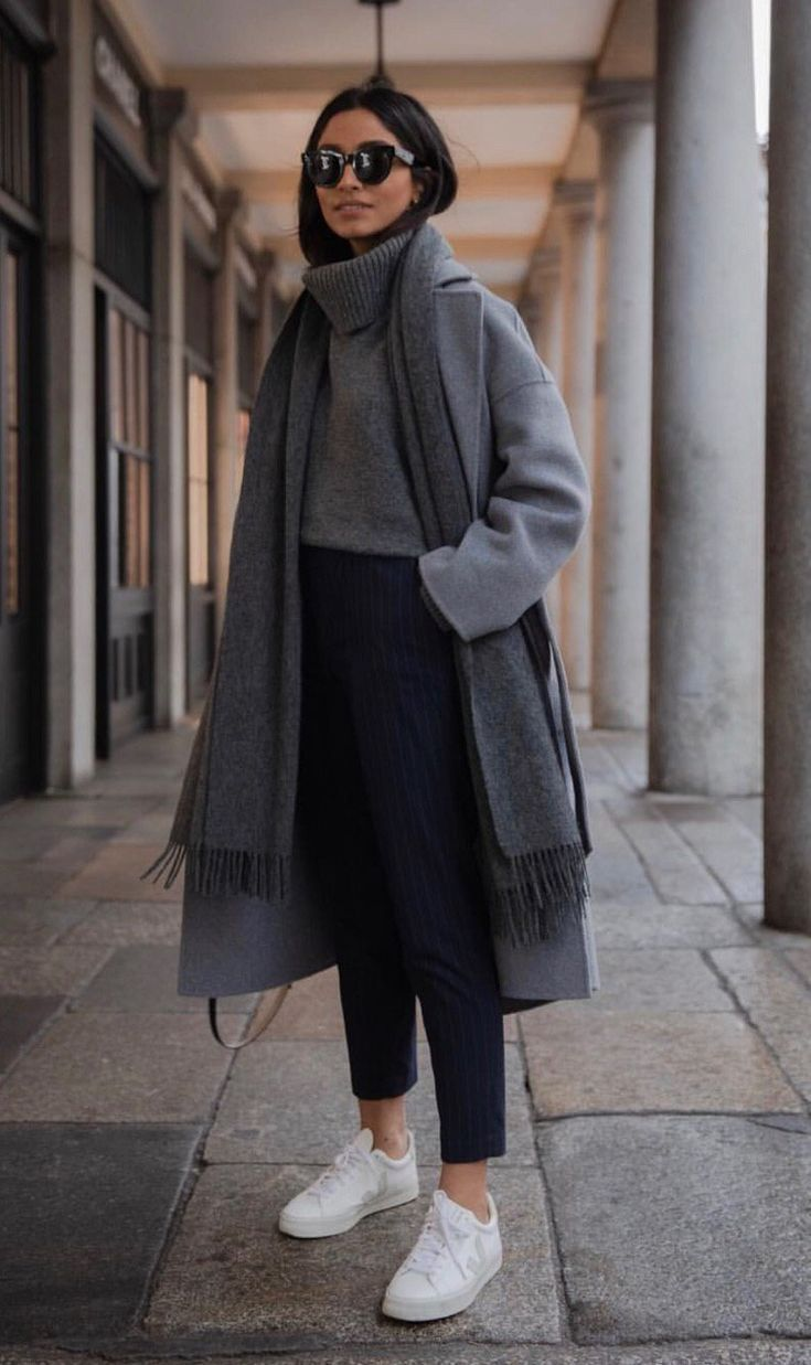 Photo of Autumn fashion: thick chunky knit sweater + autumn wool coat + 7/8 trousers + white