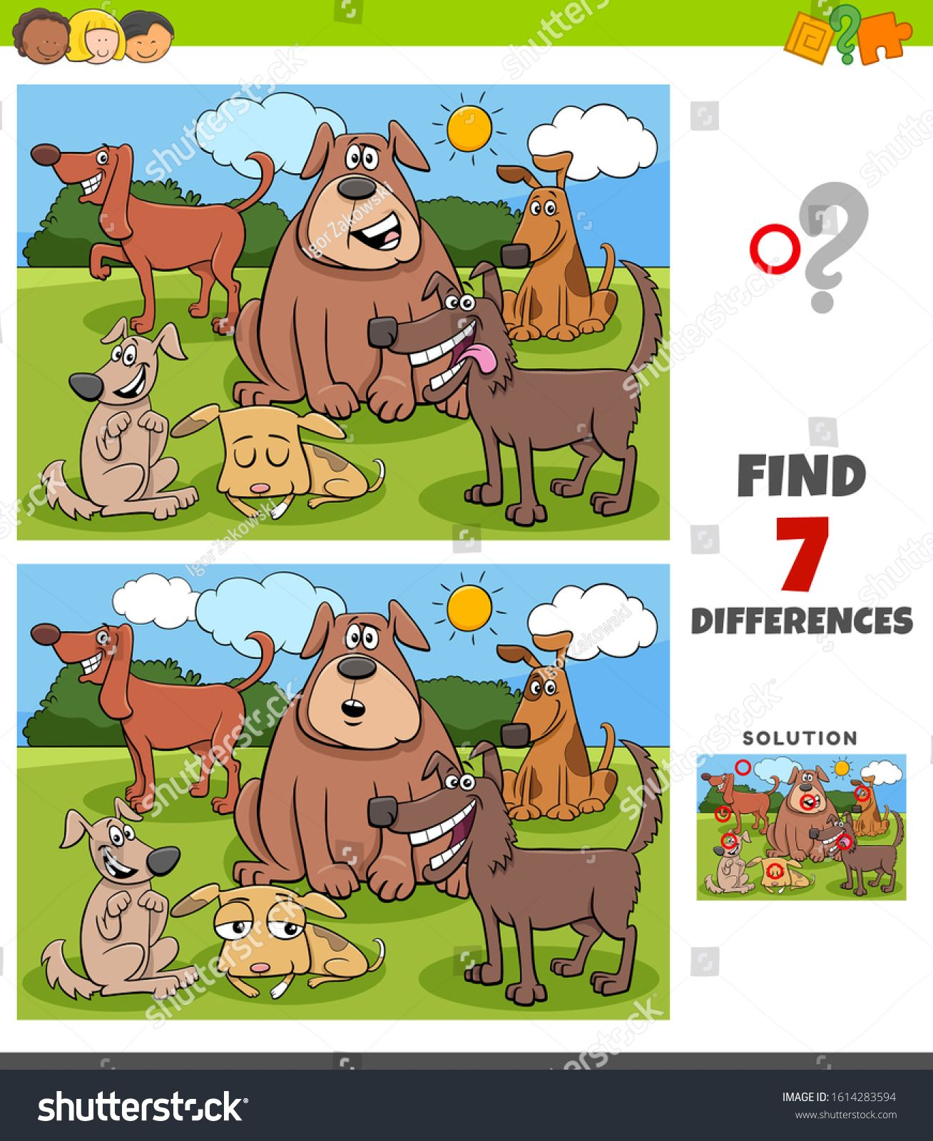 Cartoon Illustration Of Finding Differences Between