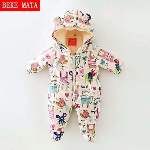 0d6ed0635924 Newborn Baby Girl Clothes Cartoon Baby Boy Rompers Winter 2018 Graffiti  Zipper Cotton Baby Snowsuit Thick Warm Toddler Jumpsuits