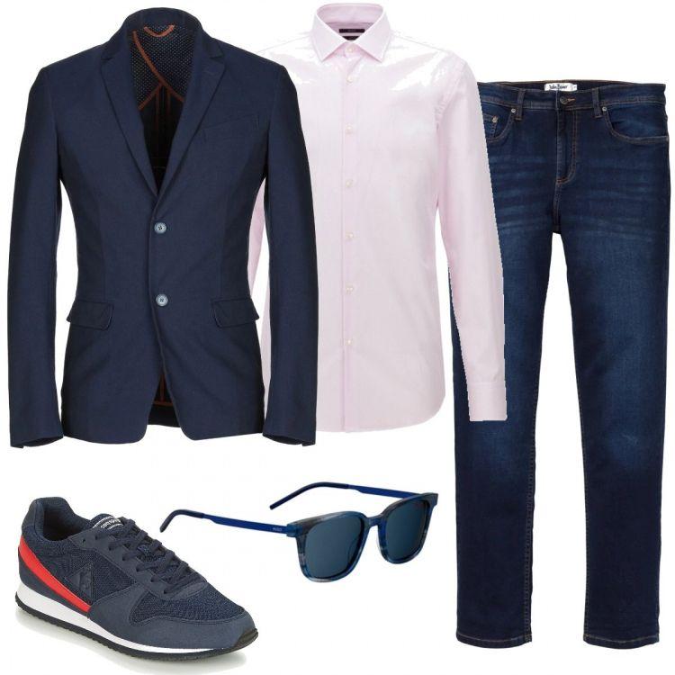 giacca camicia bianca e scarpe da ginnastica