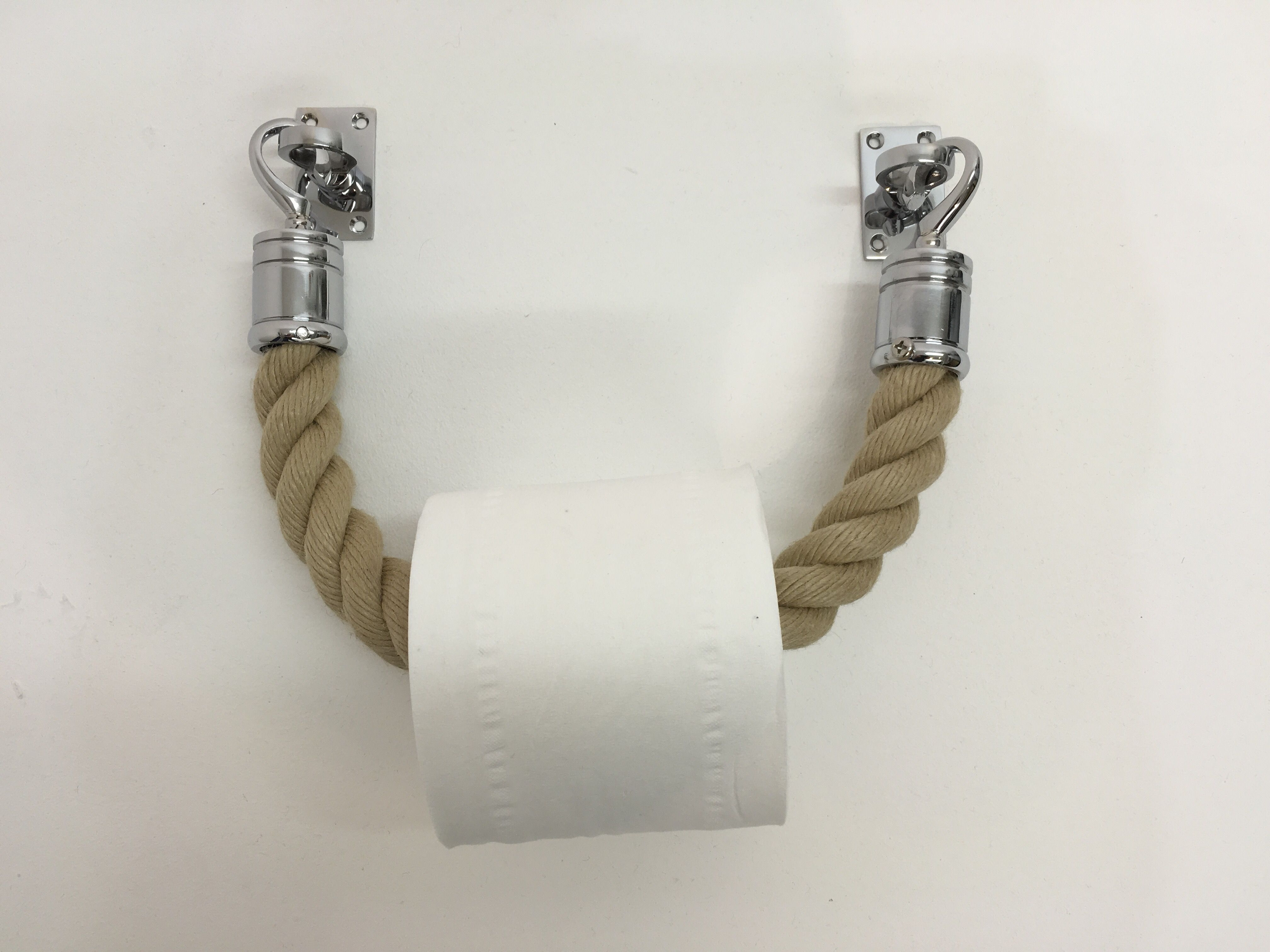 our bespoke designer toilet roll holder from our natural rope or oatmeal ropes with chrome