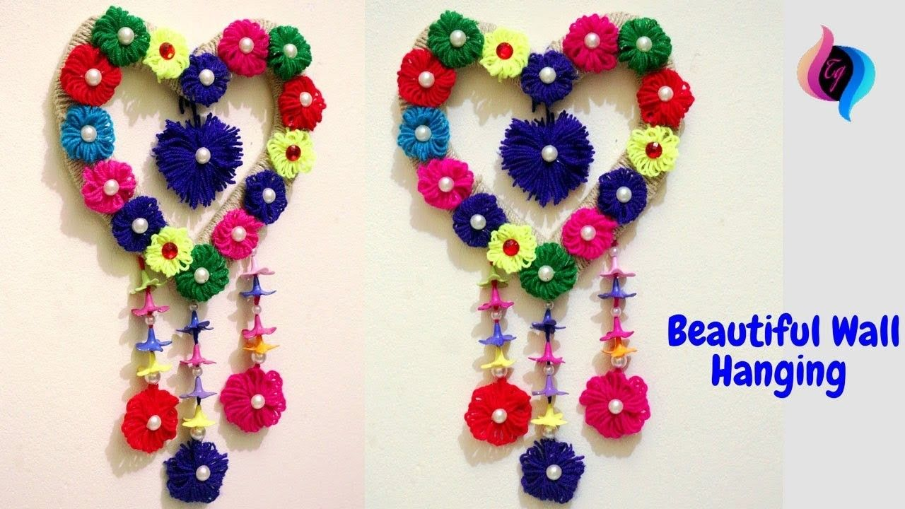 diy room decor how to make waste material wall hanging craft wall hanging ideas