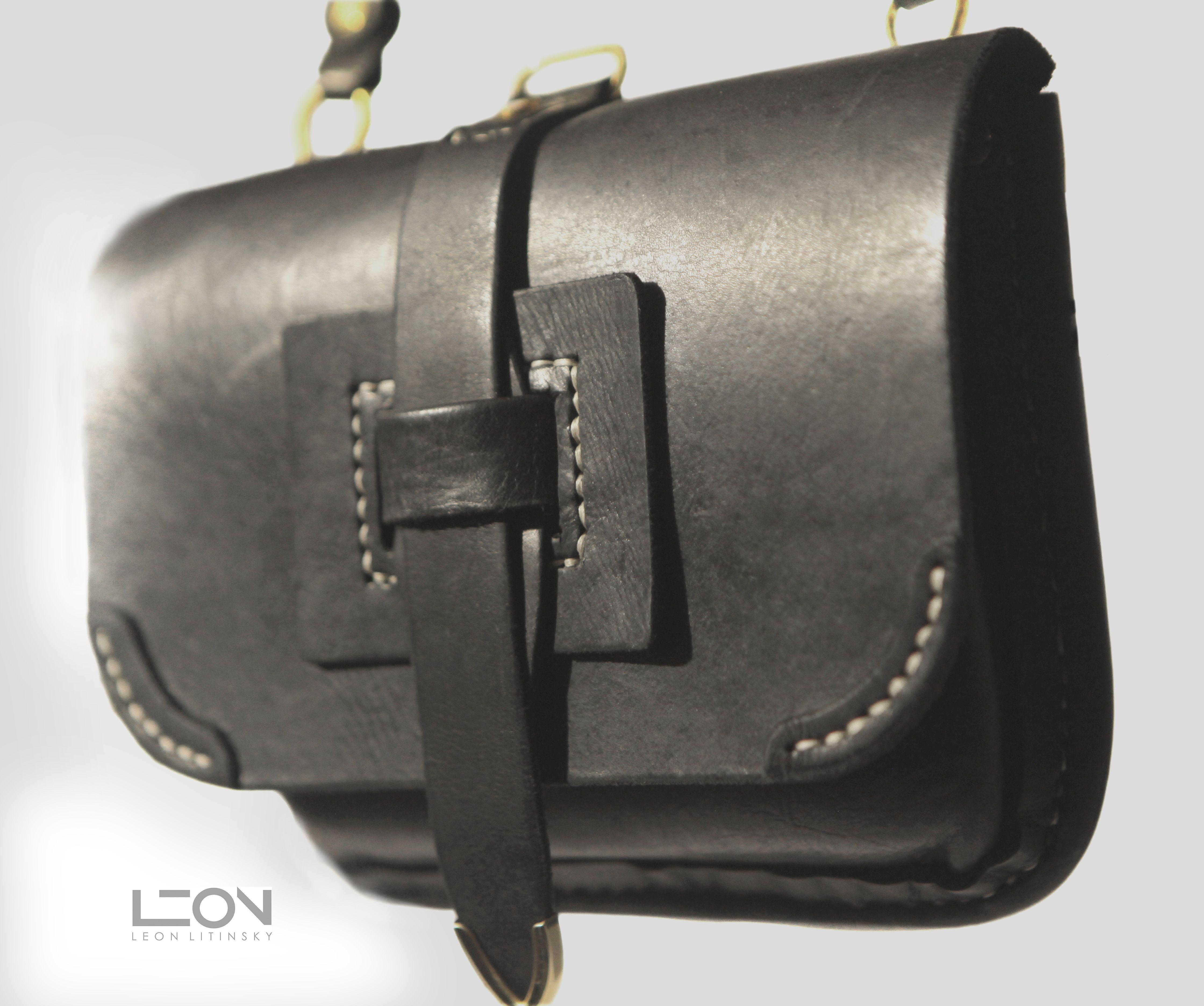 Black Leather Purse by Leon Litinsky