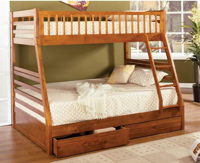 Gothic Cabinet Craft Twin Full California Honey Oak Bunk Bed With 2 Drawers 529 00 Http Www Gothiccabi