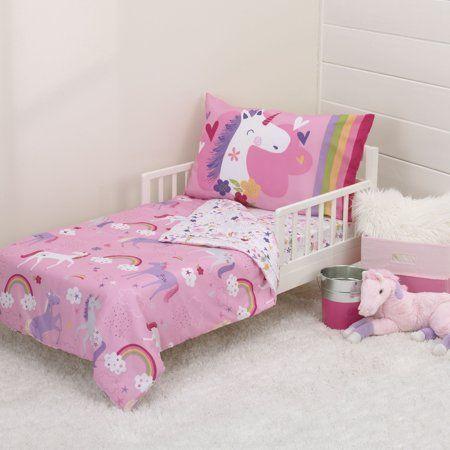 reputable site c1db4 2bfd0 Parent's Choice 4 Piece Toddler Bedding Set, Unicorn, Purple ...