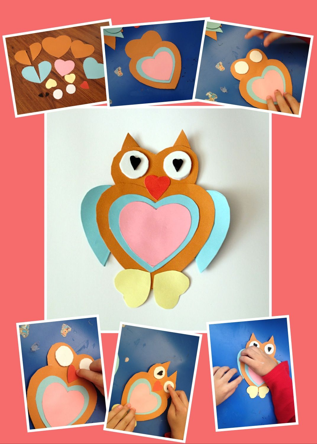 Kid's valentine's day craft---- heart shape owl :)