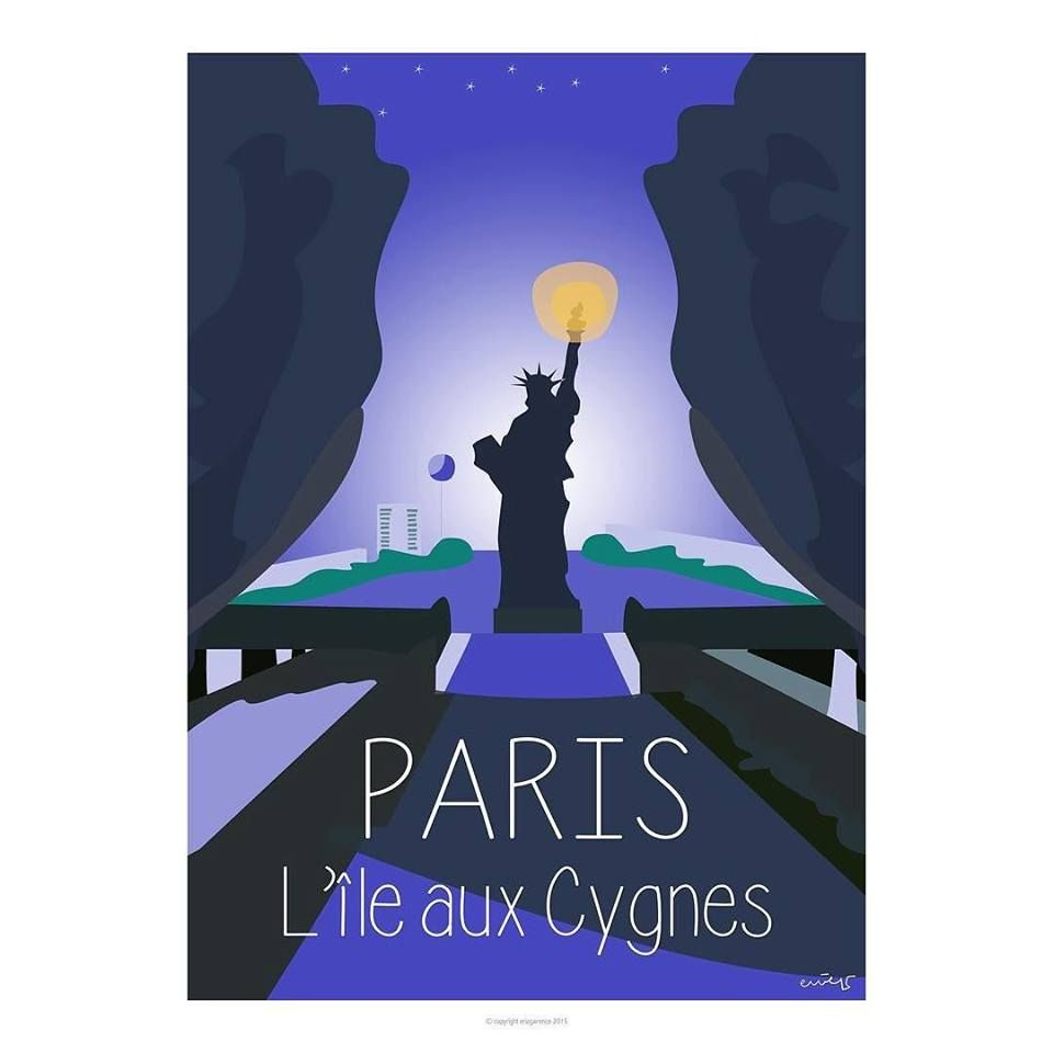 Paris l le aux cygnes front de seine de nuit travel for Galerie art minimaliste