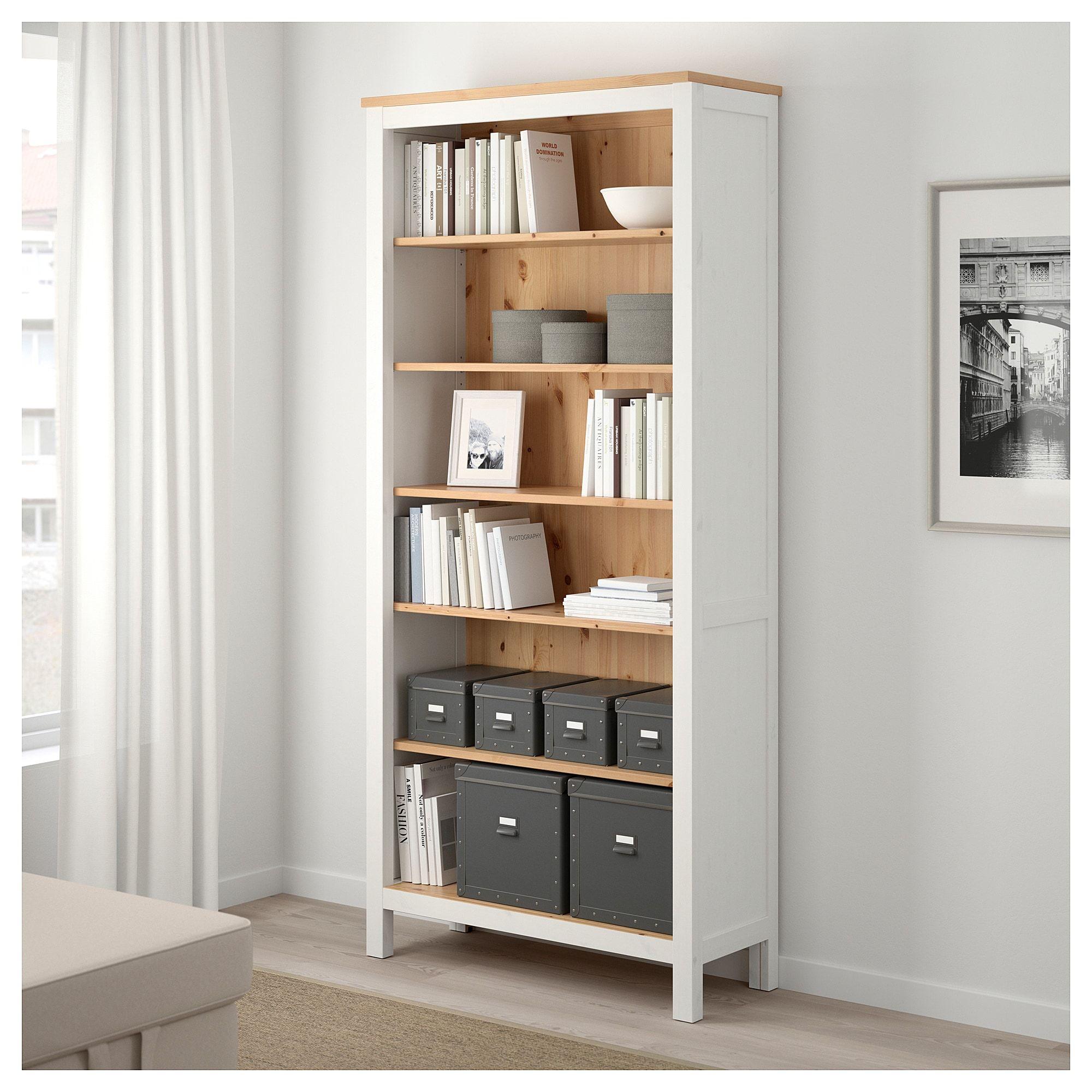 Hemnes Bookcase White Stainlight Brown 90 X 197 Cm
