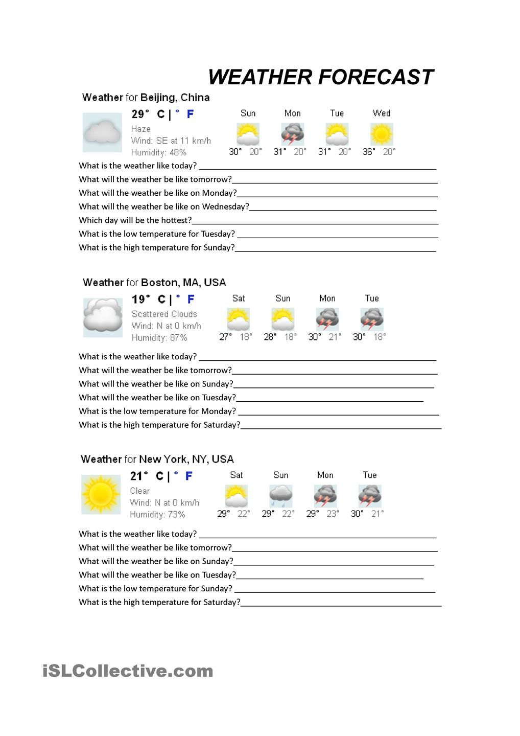 what's the weather like Enseñanza de inglés, Fichas