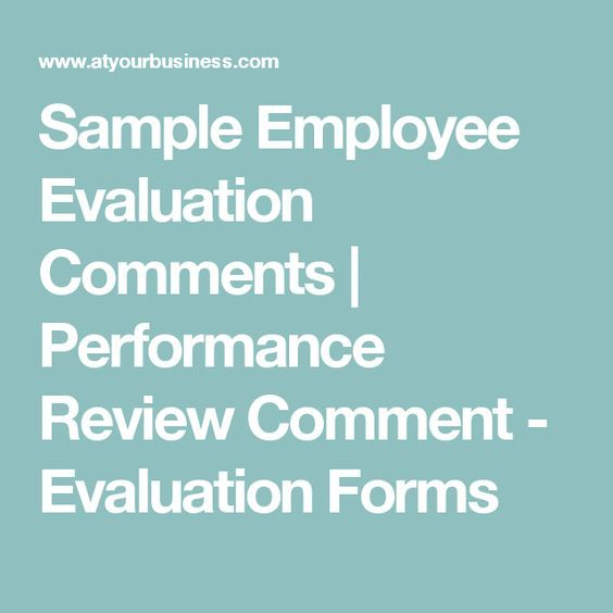 Job Performance Evaluation Form Templates Sample Employee Evaluation Comments  Performance Review Comment .