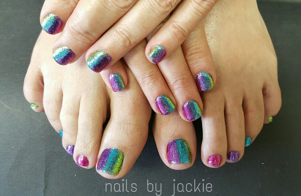 Gel polish manicure pedicure Bright glitter fade nail art Nails by ...