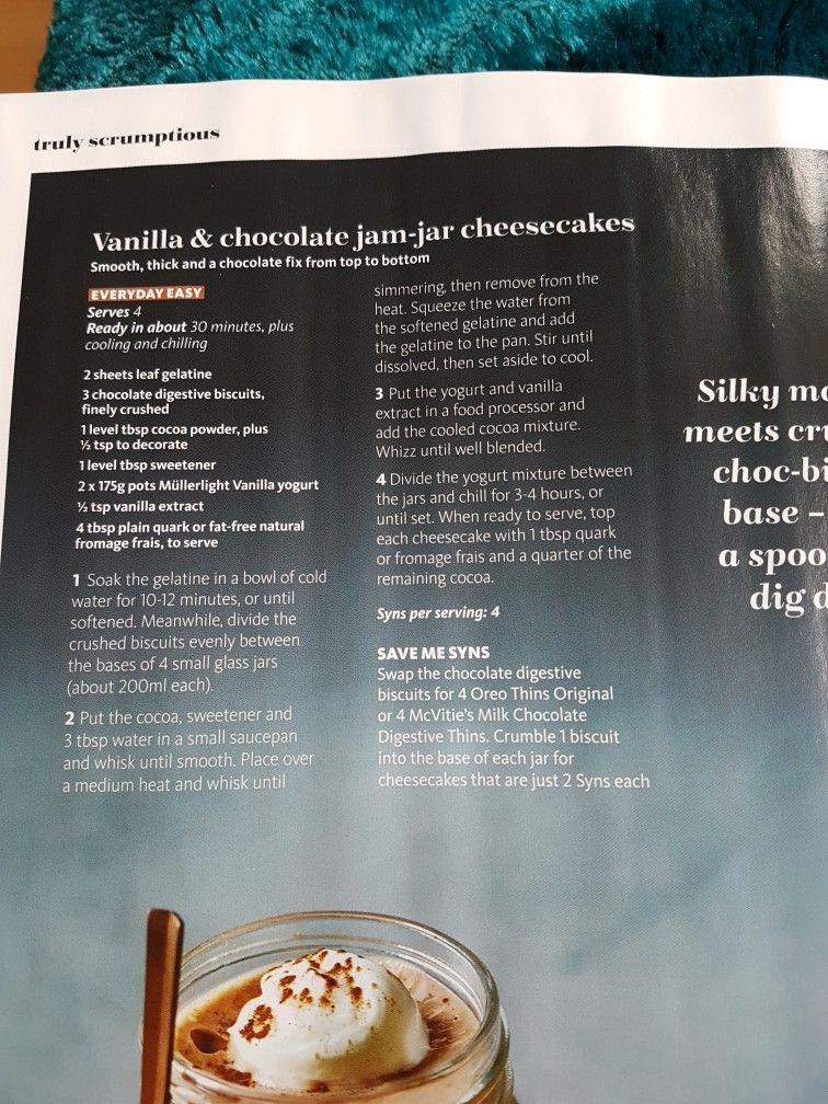 Slimming world Vanilla and chocolate jam jar cheesecakes