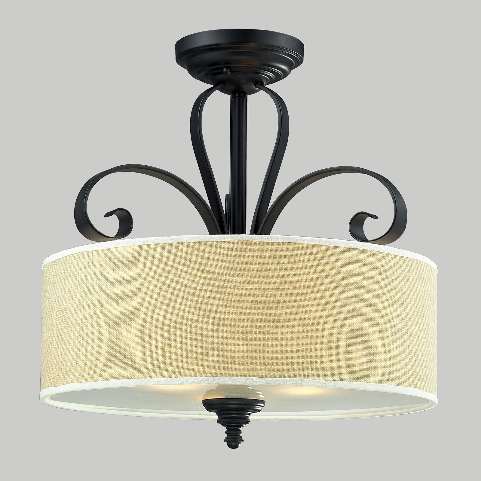 Add some southern flare to your home or office space with this shop for the z lite matte black charleston 3 light semi flush ceiling fixture with burlap shade and save doublecrazyfo Image collections