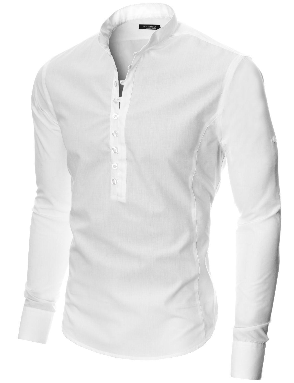 478219e37bac MODERNO Mens Mao Collar Casual Shirt (MOD1431LS) White