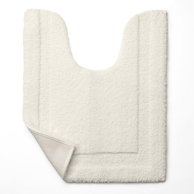 Chaps Home Lawton Microfiber Solid Contour Bath Rug - 19'' x 24'', White Oth