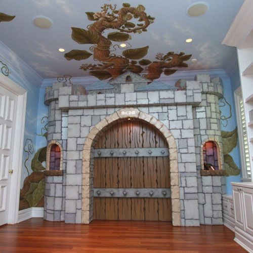 Pastoral beanstalk mural and castle gate and luxury baby for Castle wall mural
