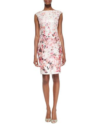 Floral Printed Metallic Sheath Dress  by Kay Unger New York at Neiman Marcus.
