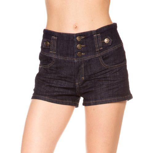 Nothar Womens American Flag Pocket Pattern hole low Waist Denim Shorts
