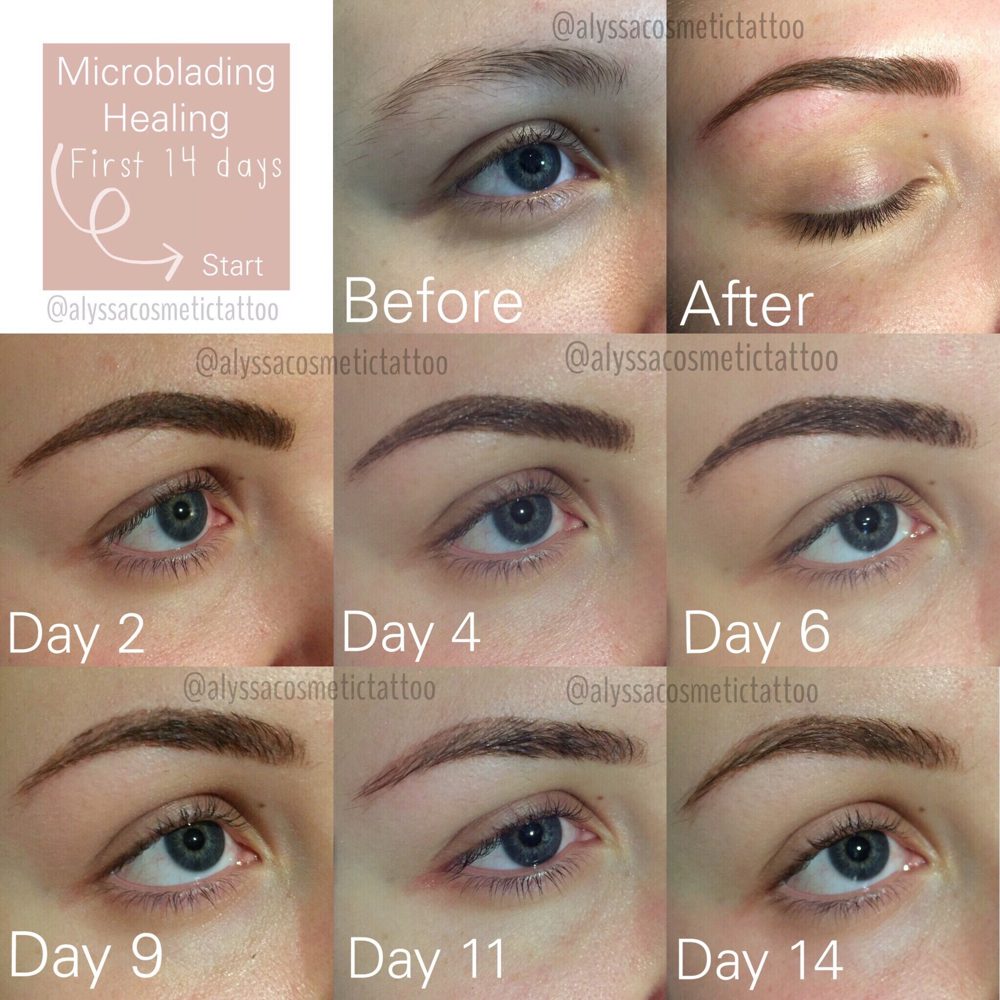 First 14 days of the healing process after Microblading are