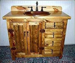 Bathroom Vanity: Rustic Southwestern Style Log Vanity w/ Hammered