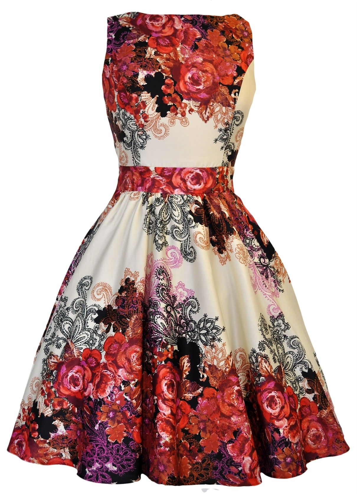 c6bf99b0faf1 Red Rose Floral Collage on Cream Tea Dress Vintage Šaty