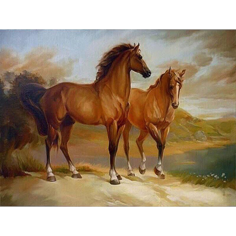 malen nach zahlen  pferde in landschaft  malen nach