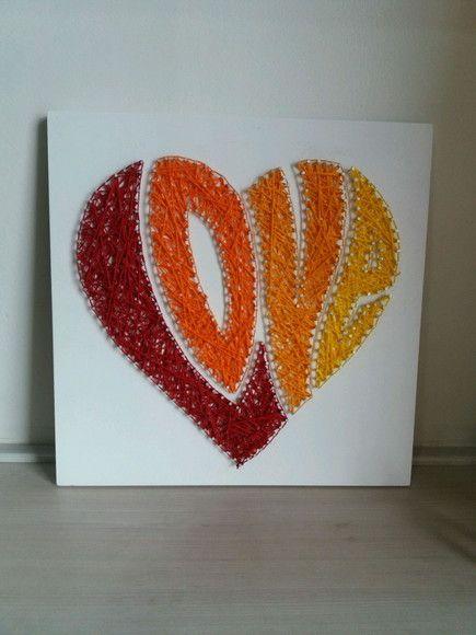 Quadro Love Arte De Barbante E Prego Padroes Em Arte De