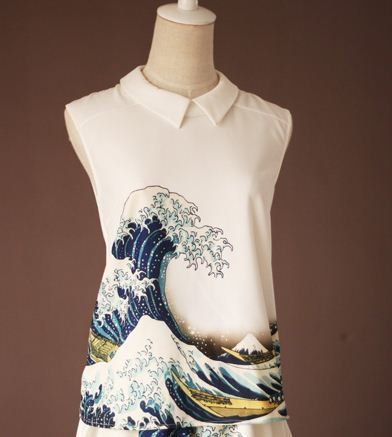 Fine Art Collection Japanese painting Hokusai's The Great Wave off Kanagawa top  and Skirt
