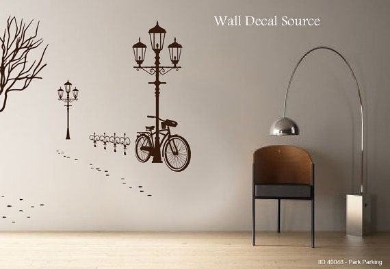 chic bicycle and lamp post wall decal - vintage light pole bike
